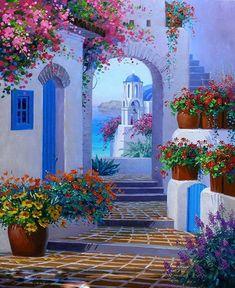 Landscape Quilts, Landscape Art, Landscape Paintings, Hand Painting Art, Oil Painting On Canvas, Diy Painting, Henri Matisse, Greece Painting, Art Corner