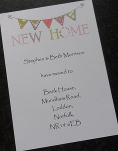 Personalised Change of Address Card / New Home / Moving House (CA8) Bunting in Home, Furniture & DIY, Celebrations & Occasions, Cards & Stationery | eBay