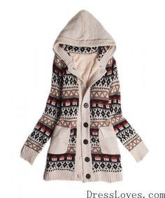 Beige Knitting House Hoddies Heavy Sweater