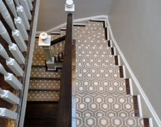Houzz: nice pattern for stairway carpet. Also will match the grey walls.