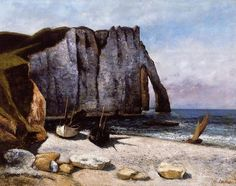 Cliff at Étretat, the Porte d' Aval Gustave Courbet (French, Oil on canvas x 32 in.) The Norton Simon Foundation © 2012 The Norton Simon Foundation Henri Matisse, Claude Monet, Etretat Normandie, Pablo Picasso, Falaise Etretat, Jean Antoine Watteau, Gustave Courbet, French Paintings, Salvador Dali