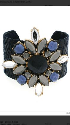 Bracelet cuff:  flower design grey black blue. Perfect statement piece. Message me for detail. #noorsjewels