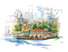 Istanbul Sketchbook by Ergun Gunduz / Besiktas