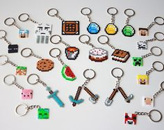 minecraft perler bead keychain - Google Search