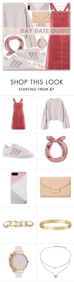 """Day Date"" by kueenly on Polyvore featuring Topshop, MANGO, adidas, CÉLINE, GUESS, Cartier, Olivia Burton, Folli Follie, cute and love"