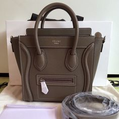 <PREORDER> Celine Nano Luggage in Souris Drummed Leather