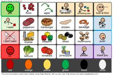 Make a pizza - Autism Vocabulary Board