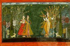Nayika with two attendants.  Basohli, Kathua District, Jammu and Kashmir, India. ca 1690 CE