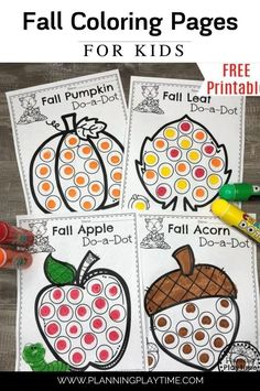Fall Coloring Pages: fun Autumn activity for kids.  - Planning Playtime Preschool Learning Activities, Art Activities For Kids, Autumn Activities, Preschool Crafts, Preschool Fall Theme, Preschool Art Projects, Preschool Teachers, Number Activities, Free Preschool
