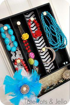 Turn a silverware tray into a jewelry organizer!