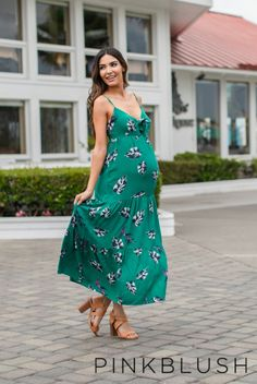 DETAILS: A leaf print, pleated tiered maternity maxi dress featuring a cutout tie front, v-neckline, adjustable cami straps, and smocked back. Bust is double lined to prevent sheerness. This style was created to be worn before, during, and after pregnancy.
