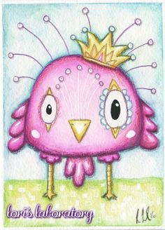 Quirky Bird Kuretake Zig Mixed Media - Supplies, info and more mixed media art journal work at: http://lorislaboratory.com/2016/03/16/watercolor-pencil-quirky-bird/   #mixedmedia #watercolor #bird #owl #coloredpencil #artjournal #whimsical #markers