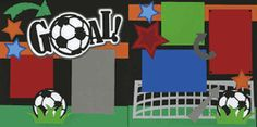 """Sports Soccer Scrapbook Layout... I like the soccer ball letter """"o"""""""
