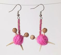 Pink Ear Knits  Yarn ball earrings by maxsworld on Etsy, £12.00  - a whimsical gift for a knitter