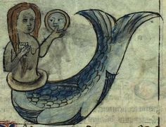 Kongelige Bibliotek, Gl. kgl. S. 1633 4º, Folio 60rA vain mermaid, admiring herself in a mirror.