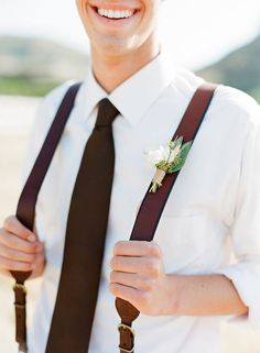 2015 Color of the year Marsala I like it so much more than Emerald of 2014 Groomsmen Suspenders, Groom And Groomsmen, Groom Attire, Leather Suspenders, Marsala, Country Wedding Groomsmen, Rustic Wedding, Wedding Attire, Wedding Colors