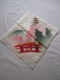 Vintage Painted Handkerchief Japanese Print Cream Silk Chiffon Hanky Scarf #Unbranded #DesignerArtist