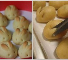 Bunny Buns!! Super cute Easter idea! This would work with a homemade bread recipe or even frozen bread dough. Just a little snip during the raising process and you're good to go! (from Bee Bops and Lollipops).