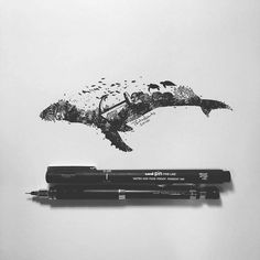 Custom pen drawing by artist by worldofpencils Ant Drawing, Nature Drawing, Whale Drawing, Illustration Pen And Ink, Ink Illustrations, Whale Tattoos, Whale Art, Ink Pen Drawings, Custom Pens