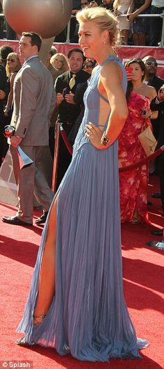Stunning: (Though displaying horrible posture in this photo) Tennis star Maria Sharapova revealed enviable legs in her diaphanous cornflower blue dress, from the J. Mendel 2013 Resort at the ESPY Awards in L. on WED July Sheer Chiffon, Chiffon Dress, Cornflower Blue Dress, Royal Ascot Ladies Day, Tennis Whites, Espy Awards, Blue Dresses, Formal Dresses, Olivia Munn