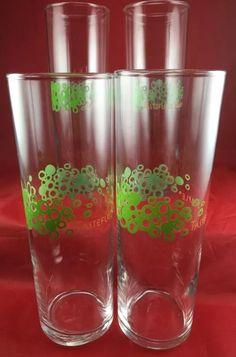 Tastefully Simple High Ball Glasses Clear Green Peach Set of Four   eBay