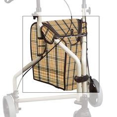 Tote for 3-Wheel Rollators-Tan-Plaid - Products for Independent Living - MaxiAids