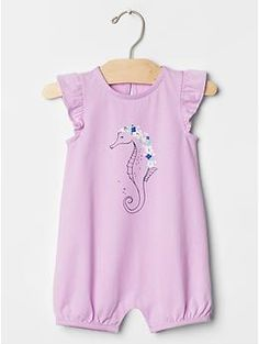 IT HAS A SEAHORSE ON IT!!! Graphic flutter one-piece