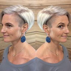 Gray-Short-Hair-with-Glasses Classy Pixie Haircuts for Older Women - Short Hair Styles Haircut For Older Women, Short Hair Cuts For Women, Short Hair Styles, Undercut Hairstyles, Short Bob Hairstyles, Pixie Haircuts, Undercut Pixie, School Hairstyles, Boho Hairstyles