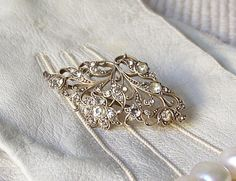 Vintage Sterling Silver Brooch 925 Rhinestones Silver Jewelry