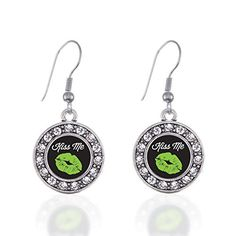 Inspired Silver Kiss me Im Irish Circle Charm French Hook Earrings *** Click image for more details. Note:It is Affiliate Link to Amazon.