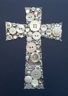 Cross button art: maybe I can do this with all those buttons I got of my grandma's .... CHRISTMAS PRESENTS!!!!!!: