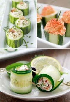 mini cucumber bites plus a whole range of other mini food ideas plus recipes, great ideas for parties and lunchboxes! - Weddings by Lilly Mini Cucumbers, Stuffed Cucumbers, Cucumber Bites, Cucumber Rolls, Good Food, Yummy Food, Tasty, Cooking Recipes, Healthy Recipes