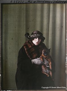 Portrait autochrome photograph by Albert Kahn. This is Colette, French writer and performer (1873--1954).
