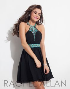 Black chiffon babydoll with turquoise beaded neckline and ruched bodice and it's at Rsvp Prom and Pageant, Atlanta, GA!