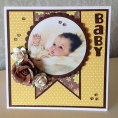 Randis hobbyverden: Baby-kort i gult og brunt