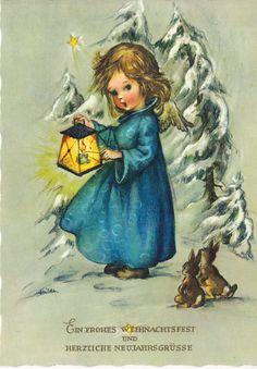 Weihnachten - Lichterengel und Hasen - sign. Hilde, blanco | eBay