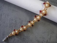 Beading Bracelet Tutorial Pattern Red Golden Pearl Bracelet