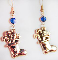 CHRISTMAS STOCKING EARRINGS, Christmas earrings, Christmas Jewelry, stocking with toy,Swarovski crystal, blue crystal,antique silver - 1606C by EarringsBraceletsEtc on Etsy