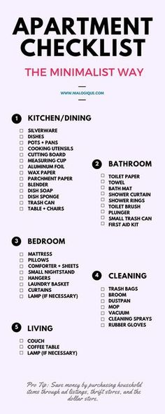Everything You Need To Know About Renting Your First Apartment: Minimalist  Apartment Checklist By Nialogique