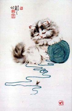 Китайские акварели с кошками