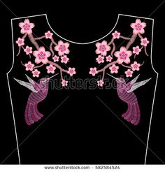 Embroidery stitches with spring sakura flowers, branch of Japanese cherry blossoms with hummingbird. Neckline for fashion fabric, textile floral print. Fashion decoration, hand drawn pattern