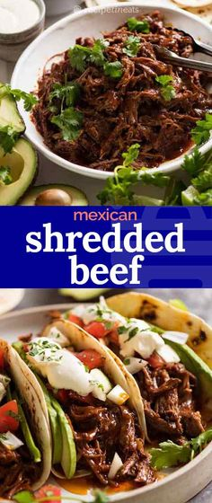 This Mexican Shredded Beef has incredible depth of flavour! The sauce is really rich and thick, and there is PLENTY of it. Fantastic for tacos, burritos, enchiladas and quesadillas, piled high on Mexi Gourmet Recipes, Mexican Food Recipes, Dinner Recipes, Cooking Recipes, Healthy Recipes, Healthy Nutrition, Drink Recipes, Keto Recipes, Shredded Beef Tacos
