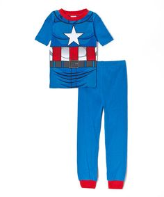 Blue Captain America Character Pajama Set - Boys