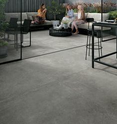 zelfde tegel keuken en terras - Google Zoeken Outdoor Paving, Outdoor Stone, Outdoor Tiles, Outdoor Areas, Indoor Outdoor, Smooth Concrete, Polished Concrete, Pergola, Concrete Tiles