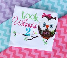 Look Whoo's 2 Embroidered Shirt   Birthday by smallwonders00, $22.00