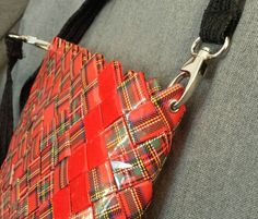 The Red messenger handbag by myecobags on Etsy ♡♡ Feed Bags, Paper Weaving, Upcycled Crafts, Candy Bags, Candy Wrappers, Girls Camp, Camping Crafts, Purses And Bags, Goodies