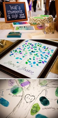 I love this idea as your guestbook!! We could pick a few different ink colors that will fit within your new home color scheme ??