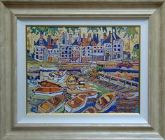 """Boats by Castle Dock""  Pickett, David  b. 1960  oil on canvas, 24 x 30 ins., ca. 2010  $4,500"