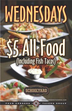 Every Wednesday- $5 All Food!