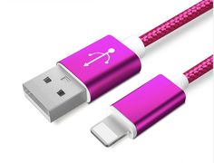 Colourful Nylon Micro USB Cable for Apple and Android Phones – Rose Red - Apple
